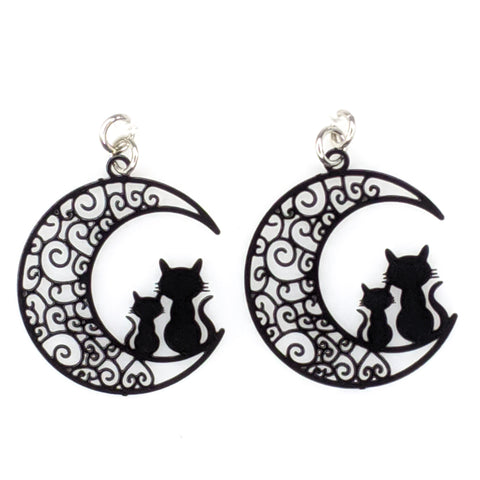 Moon Cats Earrings (Dangles) - black