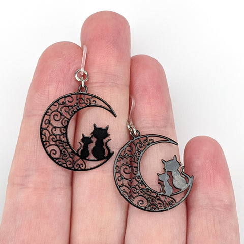 Moon Cats Earrings (Dangles) - size comparison hand