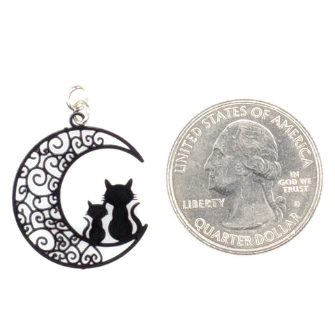 Moon Cats Earrings (Dangles) - size comparison quarter