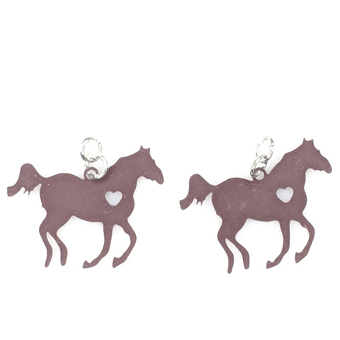 Galloping Horse Earrings (Dangles) - brown