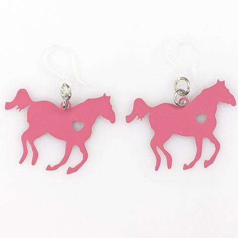 Galloping Horse Earrings (Dangles) - pink