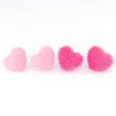 Furry Heart Earrings (Studs) - pink