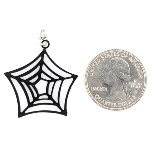 Spider Web Earrings (Dangles) - size comparison quarter