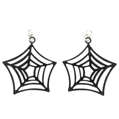 Spider Web Earrings (Dangles) - black
