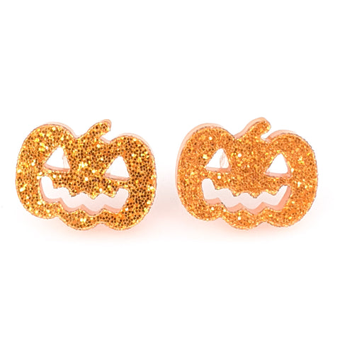 Jack-o'-Lantern Earrings (Studs) - orange