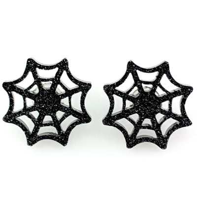 Spider Web Earrings (Studs) - black