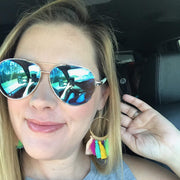 Hoop Multicolor Tassel Earrings