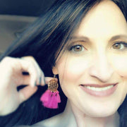 Gold Coin Tassels Earrings (Dangles) - size comparison on ear of a happy customer