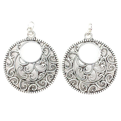 Silver Bohemian Hoop Earrings (Dangles) - silver