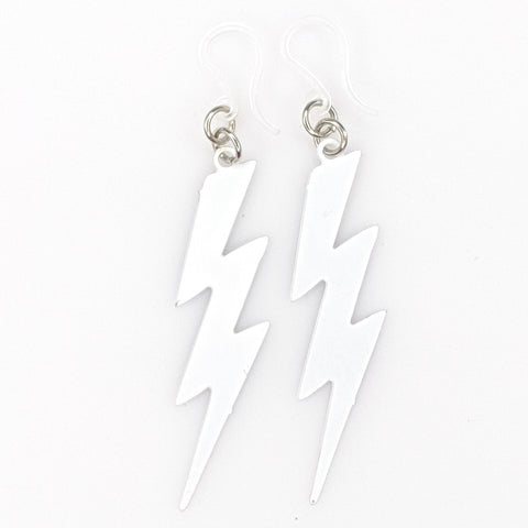 Lightning Bolt Earrings (Dangles) - white