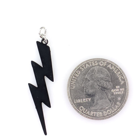 Lightning Bolt Earrings (Dangles) - size comparison quarter