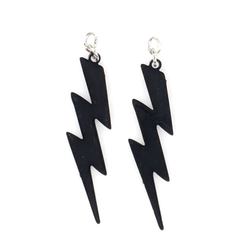 Lightning Bolt Earrings (Dangles) - black