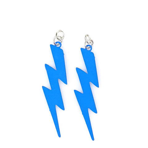 Lightning Bolt Earrings (Dangles) - blue