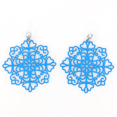 Snowflake Earrings (Dangles) - blue