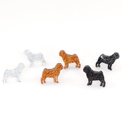 Pug Dog Glitter Earrings (Studs) - all colors