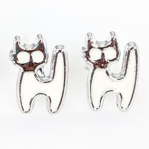 Monochrome Cat Earrings (Studs) - white