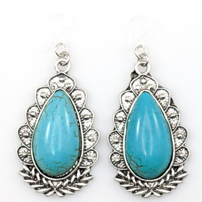 Framed Turquoise Stone Earrings (Dangles) - turquoise and silver