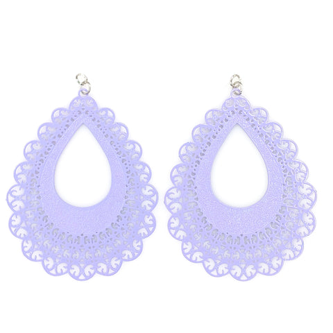 Lace Teardrop Earrings (Dangles) - purple