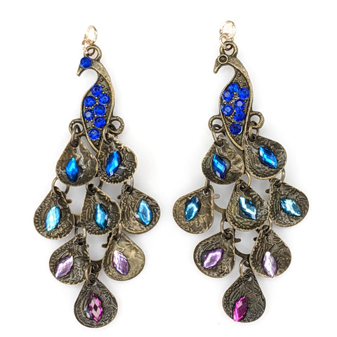 Jeweled Peacock Earrings (Dangles) - multicolored