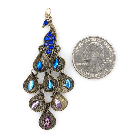 Jeweled Peacock Earrings (Dangles) - size comparison quarter