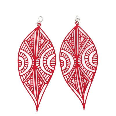 Henna Tattoo Earrings (Dangles) - red