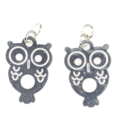 Petite Owl Earrings (Dangles) - silver