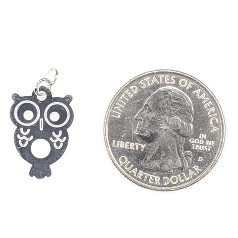 Petite Owl Earrings (Dangles) - size comparison quarter