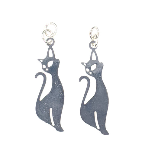Cat Earrings (Dangles)- silver