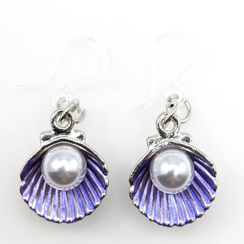 Oyster Earrings (Dangles) - purple