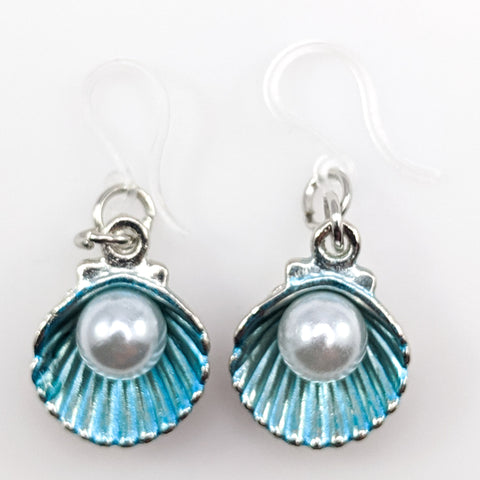 Oyster Earrings (Dangles) - blue