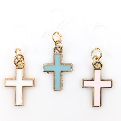 Gold Rimmed Cross Earrings (Dangles) - all colors