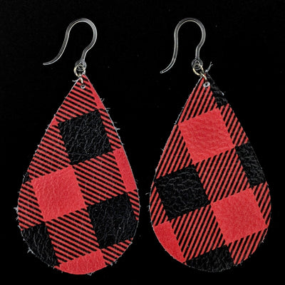 Plaid Teardrop Earrings (Teardrop Dangles) - red black