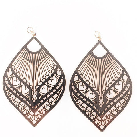 Large Peacock Earrings (Dangles) - rose gold