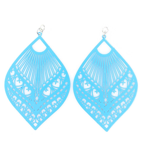 Large Peacock Earrings (Dangles) - bright blue