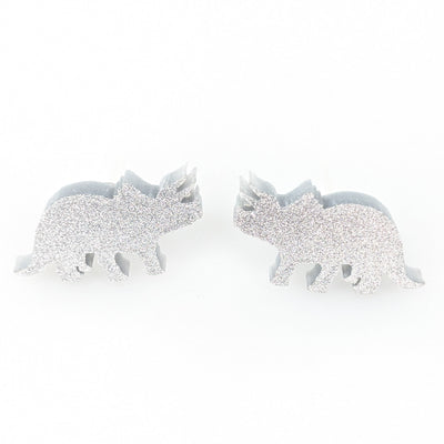 Triceratops Earrings (Studs) - silver glitter