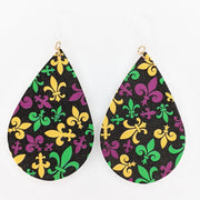 Mardi Gras Fleur-de-lis Earrings (Teardrop Dangles) - various colors