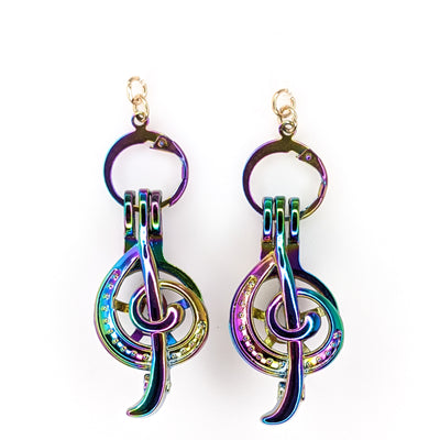 Holographic Oyster Treble Clef Earrings (Dangles) - iridescent