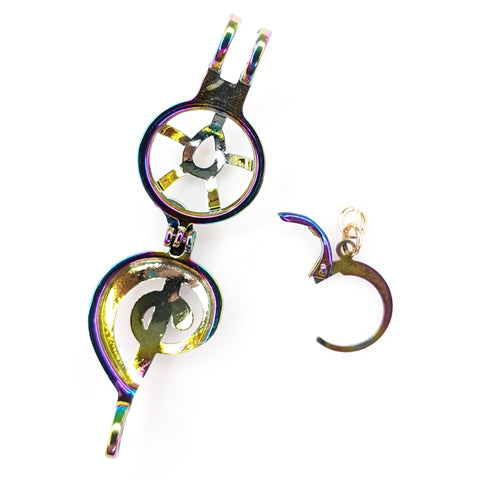 Holographic Oyster Treble Clef Earrings (Dangles) - oyster closure feature