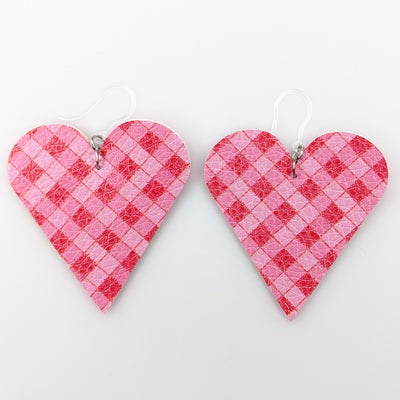 Plaid Heart Cut Out Earrings (Teardrop Dangles) - pink and red
