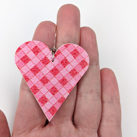 Plaid Heart Cut Out Earrings (Teardrop Dangles)