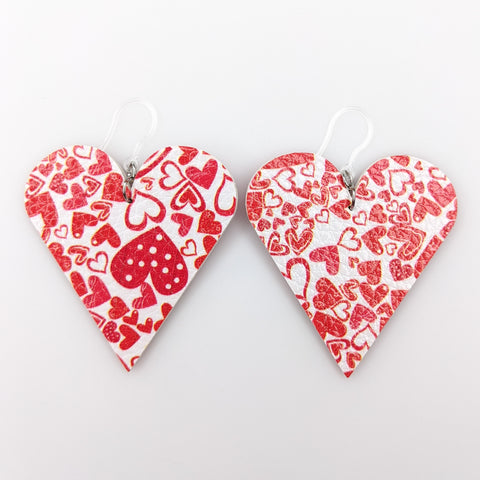 Red Heart Cut Out Earrings (Teardrop Dangles) - red and white