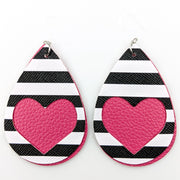 Double Layer Heart Earrings (Teardrop Dangles)