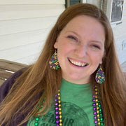 Mardi Gras Fleur-de-lis Earrings (Teardrop Dangles) - size comparison happy customer