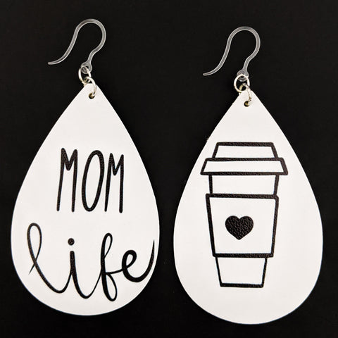 Mom Life Earrings (Teardrop Dangles) - black and white