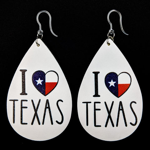 I Love Texas Flag Earrings (Teardrop Dangles)