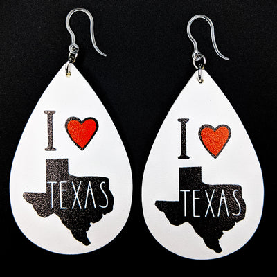 I Love Texas Earrings (Teardrop Dangles)