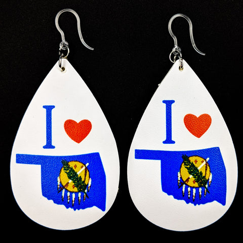 I Love Oklahoma Flag Earrings (Teardrop Dangles)