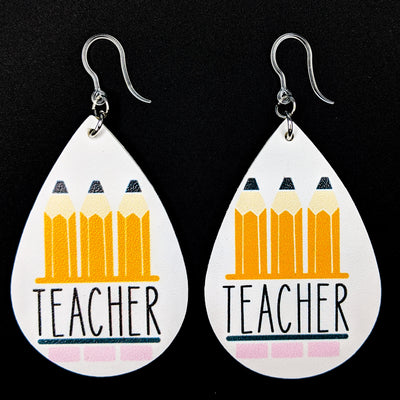 Teacher Earrings (Teardrop Dangles) - white with black writing, yellow pencils, and pink erasers