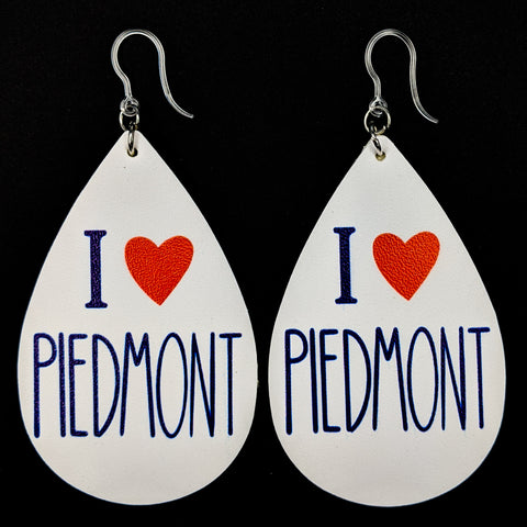 I Love Piedmont Earrings (Teardrop Dangles)