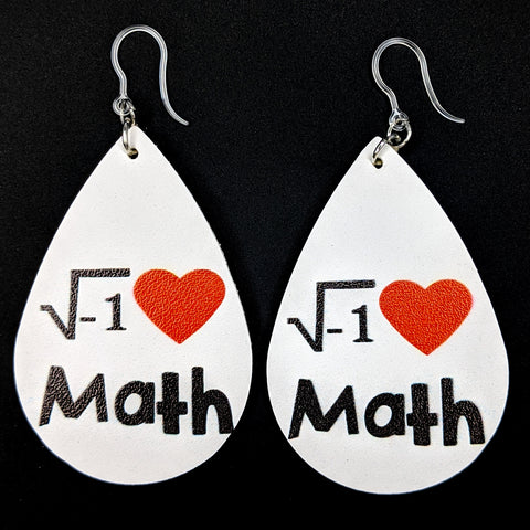 I Love Math Earrings (Teardrop Dangles) - white